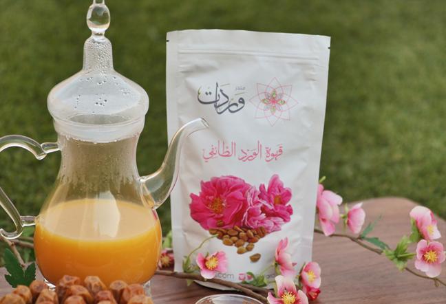 القهوة العربية بتحويجة الورد الطائفي احد المنتجات الابداعية لمتجر وردات الناجح - الطائف
